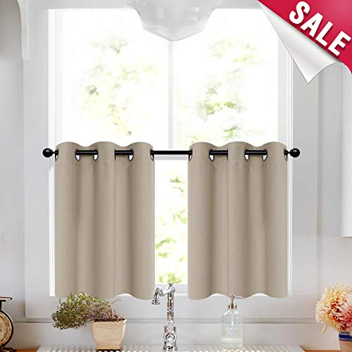 Taupe Tier Curtains 24 inch Kitchen Grommet Top Short Curtains Small Window Curtain Tiers Room Darkening Cafe Curtains Bathroom Windows, 2 Panels