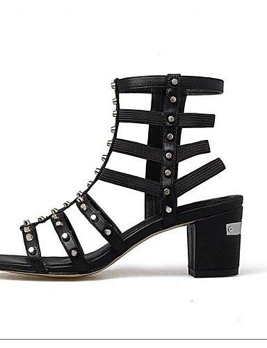 LFNLYX Zapatos de mujer-Tacón Robusto-Tacones / Punta Abierta / Botas a la Moda-Sandalias-Oficina y Trabajo / Vestido / Casual-Cuero-Negro Black