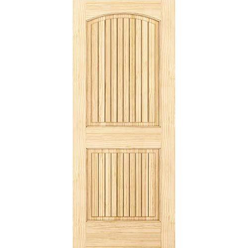 2-Panel Door, Interior Door Slab, Solid Pine, Arch Top, V-Grooves (80x36)