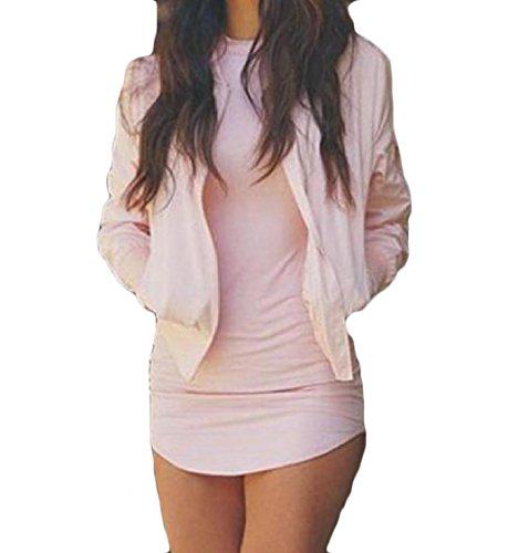 Manica Del Pacchetto Vestito maglia Puro A Rosa Coolred Colore Irregolare Sexy Dell'anca Lunga fxnURwxqBE