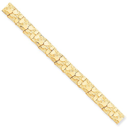 10k Yellow Gold 10.0mm NUGGET Bracelet 7inch by Diamond2Deal