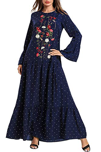 Kaftan Maxi Long Floral Print Long Sleeve Flowy Casual Summer Dress Women Long Gown Prom Maxi Dress (Islamic Prom Dresses)
