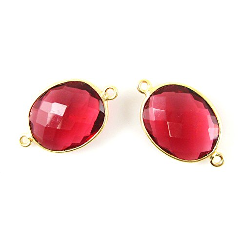 Gemstone Connector - Vermeil - 14x18mm Faceted Oval Link - Rubylite Quartz (Sold Per 2 Pieces)