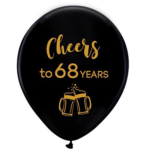 Black cheers to 68 years latex balloons, 12inch (16pcs) 68th birthday decorations party supplies for man and woman