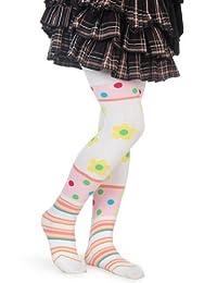 White Flower Print Yelete Girl's Fashion Tights Size Small