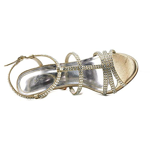 Sandals Women Fabric Open Metallic Toe Caparros Gold Groovy Synthetic Gold wR5qxzYx