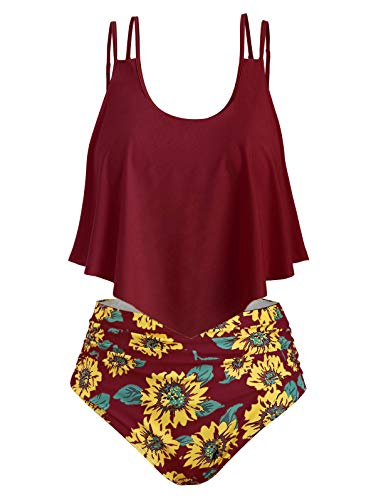 69c2a20a22e0 CHARMMA Rosegal Women's Plus Size Strappy Sunflower Overlay High Waist  TankiniSet (Wine Red, XL)