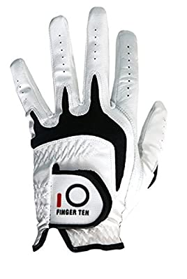 Finger Ten Mens All Weather Cabretta Synthetic Natural Fit Left Hand Value pack Golf Glove
