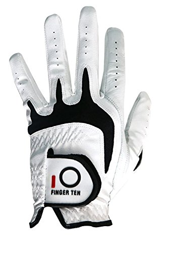 FINGER TEN Men's Golf Glove Left Hand Fit Right Handed Golfer Value Pack Set, All Weather Cabretta Leather Grip, Small Medium ML Large XL Size