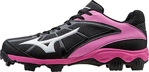 Mizuno Finch 6 - Zapatillas de 9 tacos moldeados para campo rápido, de mujer, para softball - Variation, Negro/Rosado: Amazon.es: Deportes y aire libre