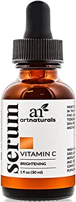 Art Naturals Enhanced Vitamin C Serum with Hyaluronic Acid 1 Oz - Top Anti Wrinkle, Anti Aging & Repairs Dark Circles, Fades age spots & Sun Damage - 20% Vitamin C Super Strength - Organic ingredients