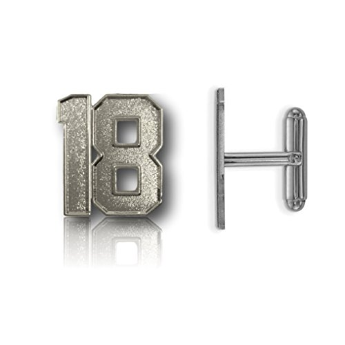 CustomCufflinks Cufflinks Number 18 Silver Plated Jersey Style (0.8
