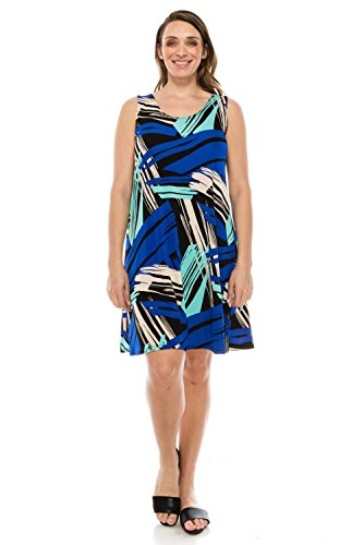 Jostar Women's Stretchy Missy Tank Dress Print Plus 2XL Royal Abstract ()