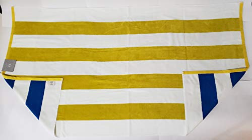 Noble Excellence Reversible Blue/Yellow/White Stripes Beach Towel (Blue Towels Yellow And)