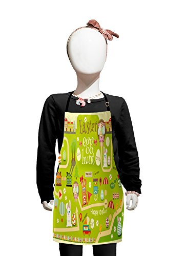 Lunarable Easter Kids Apron, Egg Hunt Map with Bunnies in Park Secret Treasure Themed Illustration, Boys Girls Apron Bib with Adjustable Ties for Cooking Baking and Painting, Pistachio Cream
