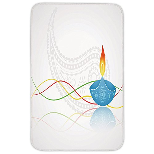 - Rectangular Area Rug Mat Rug,Diwali,Tribal Art Religious Festive Fire Candle Image with Modern Paisley Backdrop Print,Multicolor,Home Decor Mat with Non Slip Backing