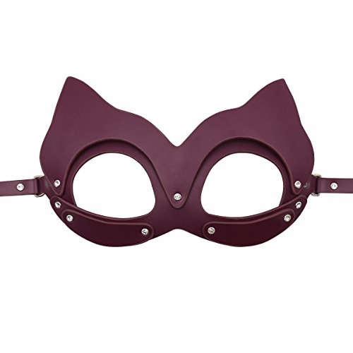 HOT TIME Leather Rhinestone Masquerade Cat Ears Handwork Mask for Cosplay Costume (Wine-Mask) -