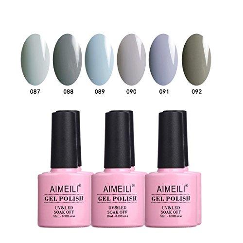 - AIMEILI Soak Off UV LED Gel Nail Polish Gray Collection Color Set Of 6pcs X 10ml- Kit Set 25