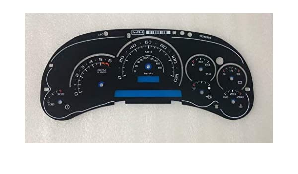 7 Gauges Replacement for 2003-2005 Cadillac Escalade /& Hummer Gasoline Instrument Cluster Speedometer Tanin Auto Electronix Custom Black Gauge Face Overlay