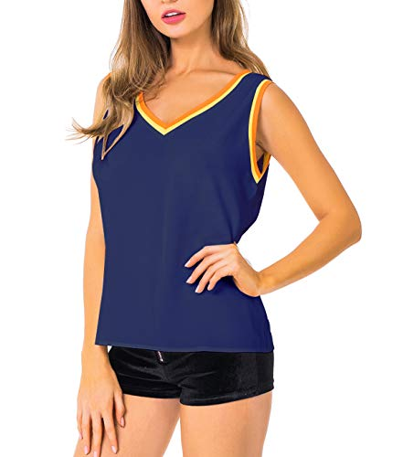 - Alice CO Women's Summer Sleeveless Chiffon V Neck Blouse T-Shirts Casual Tank Tops (X-Large, Dark Blue)