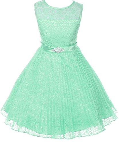 AkiDress Floral Pattern Lace Flower Girl Dress for Little Girl Mint 6 ()