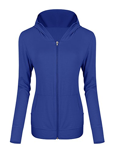 Urban CoCo Women's Zip Hoodie Sweatshirt Lightweight Active Jacket (L, Royal Blue) -