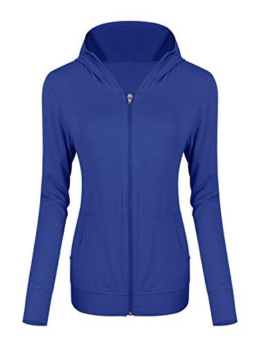 Blue Zip Hooded Sweatshirt (Urban CoCo Women's Zip Hoodie Sweatshirt Lightweight Active Jacket (M, Royal Blue))