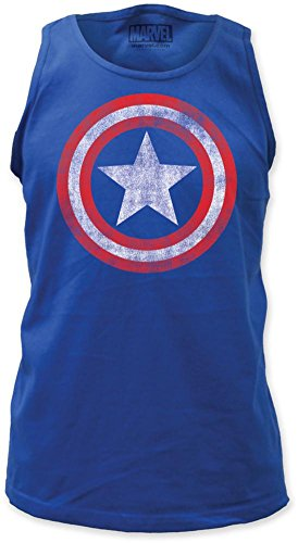 Tank Top: Captain America - Distressed Shield on Royal Size S