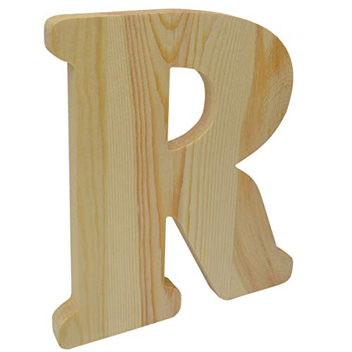 8 inch Chunky Unfinished Wood Letter R