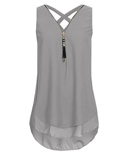 sans Femme Gilet Col Chemisier Pure Shirt Gris clair Camisole Chemises Grande Manches Fermeture T Taille V Tops rrTwn5q67