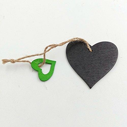 10x Wooden Gift Heart Ribbon Shape Hanging Craft Wedding Embellishment W30