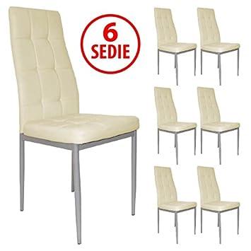 Set X6 Stühle Für Tisch Küche Wohnzimmer Esszimmer ECO LEDER Elegante  Moderne Farbe Beige