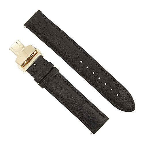 - Hadley Roma 18 MM Matte Black Ostrich Leather Strap