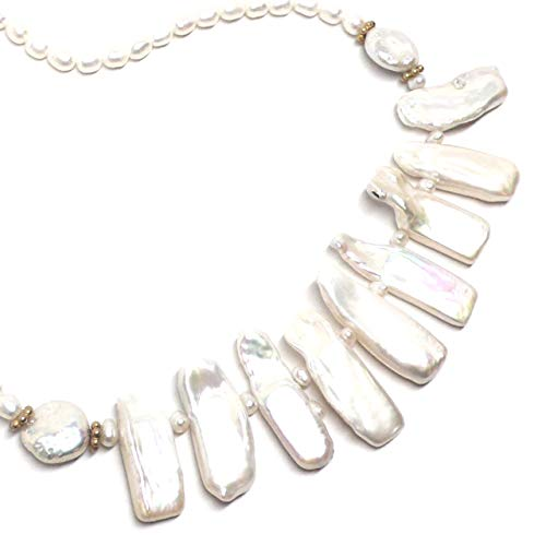 Cultured Freshwater Pearl Rectangles Collar Statement Necklace Gold-filled