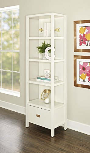 Linon KPG141WHTABU Bookcase, White