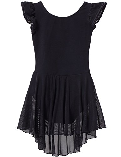 MdnMd Dance Leotard with Skirt Flutter Sleeve (Tag 130) - Age 6-8, Black