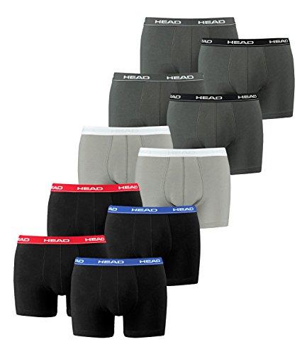 HEAD Herren Boxershorts 841001001 10er Pack, Wäschegröße:M;Artikel:2x Red/Blue/Black / 1x Grey / 2x Grey/Black/White