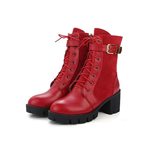 Round Closed Heels Kitten Boots Low Materials AgooLar Red Women's Blend Toe Top Zipper fwqxYtnTE