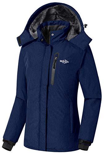 Ladies Fleece Parka - Wantdo Women's Waterproof Fleece Lined Parka Windproof Ski Jacket Navy, Small