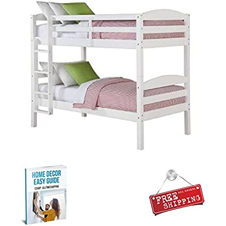 Twin Bunk Bed Frame For Kids Wood White Loft Girls Boys Children With Ladder EBook By AllTim3Shopping