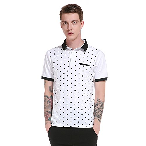 Honesy Mens Casual Shirt With Button Dot Design Fit Short Sleeve Polo T-Shirt White - Uk Wills Jack Jobs