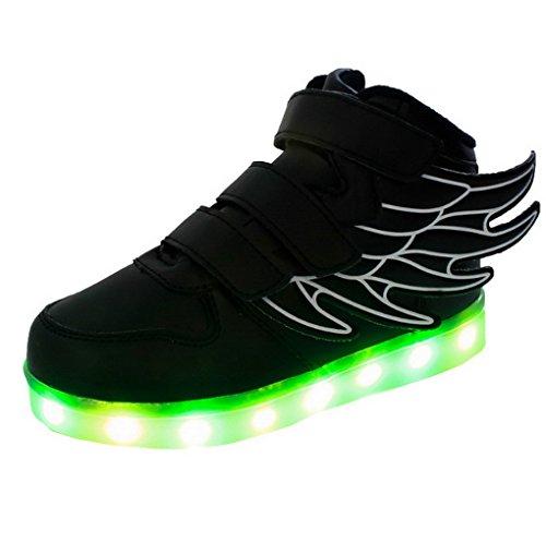 ACME-Patinete infantil, diseño de zapatillas luminosos calzado de deporte con intermitentes LED de colores 7 colores USB recargable, diseño de alas de ángel para niña para niño Negro - negro
