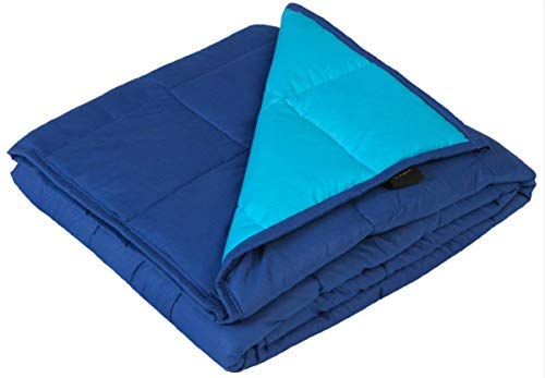 YnM Weighted Blanket, 20lbs 55''x 82'', Gravity 2.0 Cotton Heavy Blanket, Great Sleep Therapy People Anxiety, Autism, ADHD, Insomnia Stress, Midnight Blue/Seafoam
