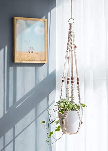 Mkono Macrame Plant Hangers Set of 4 Indoor Wall Hanging Planter Basket Decorative Flower Pot Holder with 4 Hooks for… 4