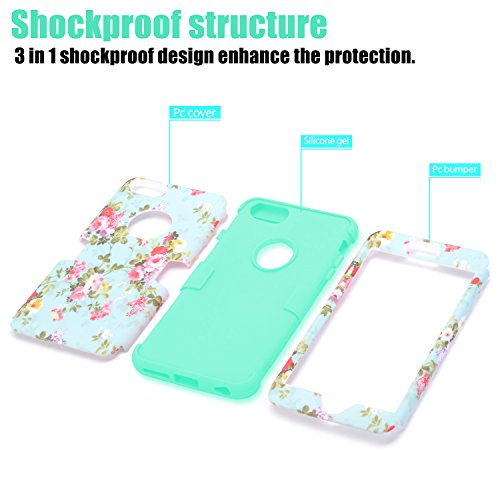 best service b4729 37be5 iPhone 6s Plus case, iPhone 6 Plus case Flower, TOPSKY [Love Flower Series]  Three Layer Heavy Duty High Impact Resistant Hybrid Protective Cover Case  ...