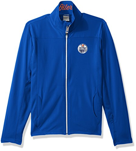- Levelwear LEY9R NHL Edmonton Oilers Women's Aurora Insignia Banner Stripe Full Zip Mid-Layer Apparel, Small, Royal Blue