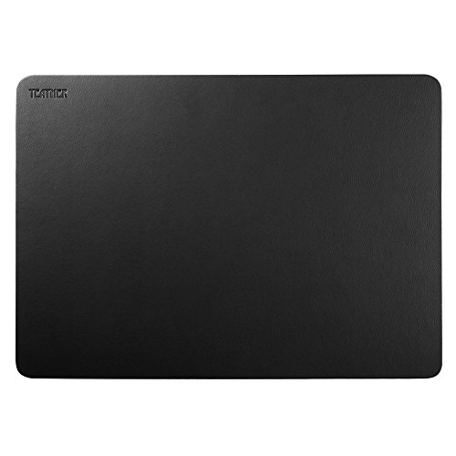 Black Leather Deask Pad Teather PU Leather Desk Mouse Mat Blotters Organizer for Gaming, Writing, Working ... (17'' x 12'')