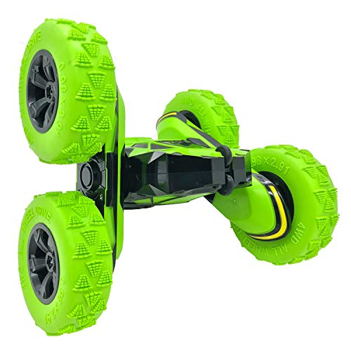 Green Remote Control Car with 2 Sided 360 Rotation for Boy Girl CarBest RC Stunt Car Toy