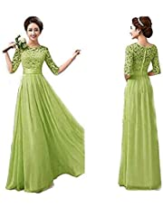 فستان سهرة دانتيل للنساء من دوبلس - مقاس Large، اخضر