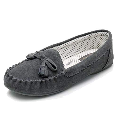 Real Fancy Moccasin Slippers for Women Flat Casual Comfortable Loafer Shoes Womens Moccasin Slippers Spring Driving Moccasins Shoes(8 B(M) US, Grey
